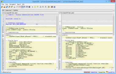 Screenshot of ExamDiff, a freeware Windows tool for visual file comparison