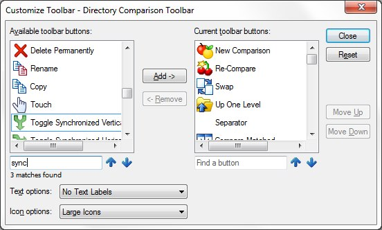 Customize Toolbar dialog