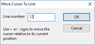 Move Cursor to Line dialog