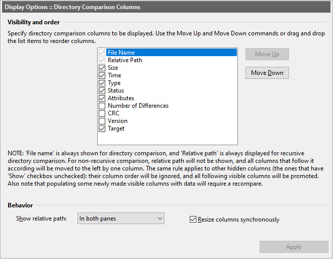 Dir Column Options dialog