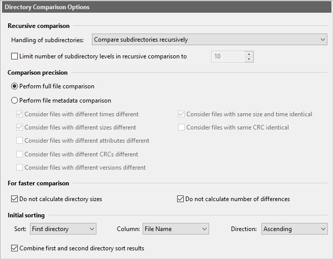 Directory Compare Options dialog