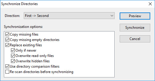 Synchronize Directories dialog