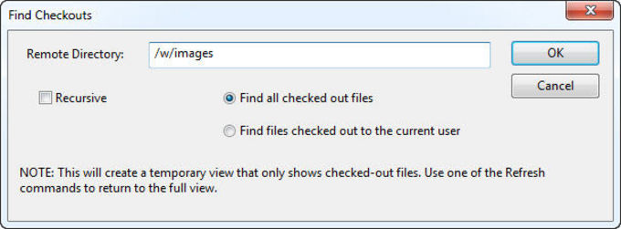 Find Checkouts dialog