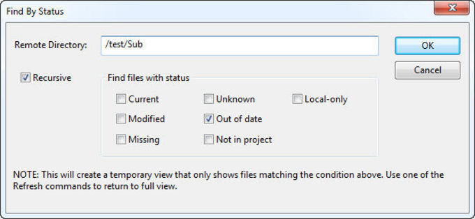 Find By Status dialog